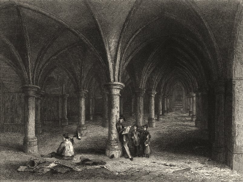 Associate Product KENT. Rochester Cathedral, View of the Crypt 1860 old antique print picture