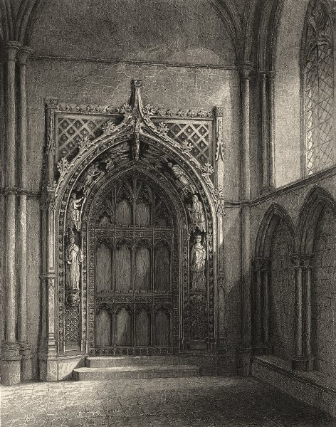 Associate Product KENT. Rochester cathedral, the door Chapter House.  1860 old antique print