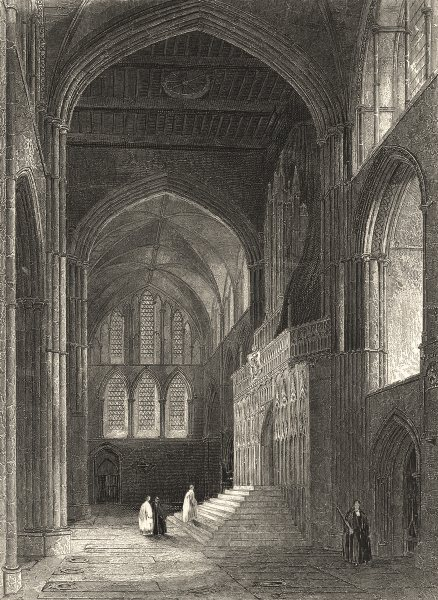 Associate Product KENT. Rochester Cathedral, North Transept 1860 old antique print picture