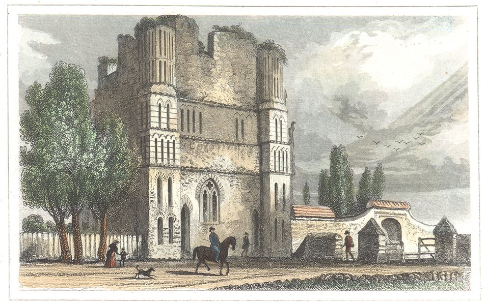 Associate Product KENT. Remains of Malling Abbey. Hand coloured (Dugdale) 1835 old antique print