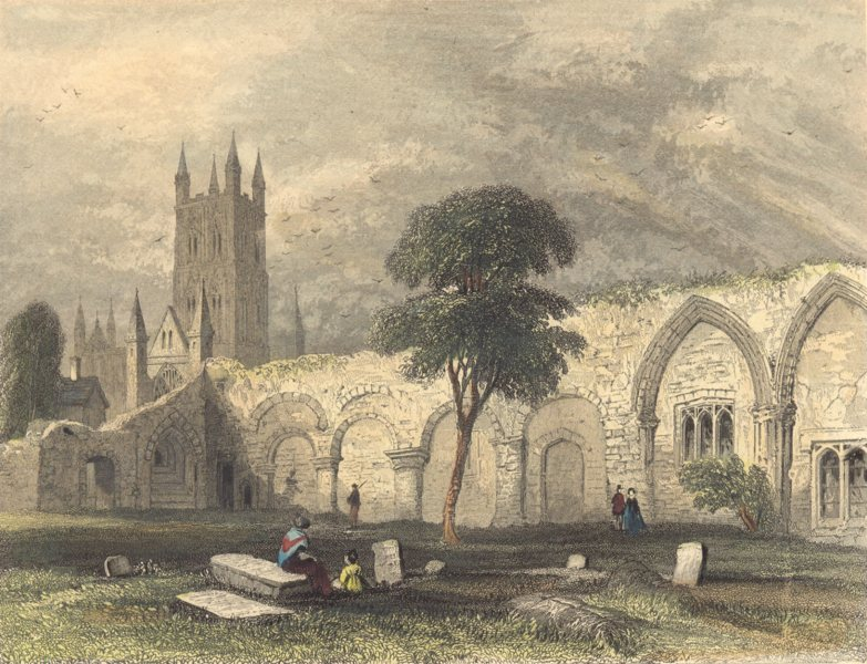 Associate Product GLOUCESTERSHIRE. Gloucester cathedral view from St. Catherines Abbey.  1850