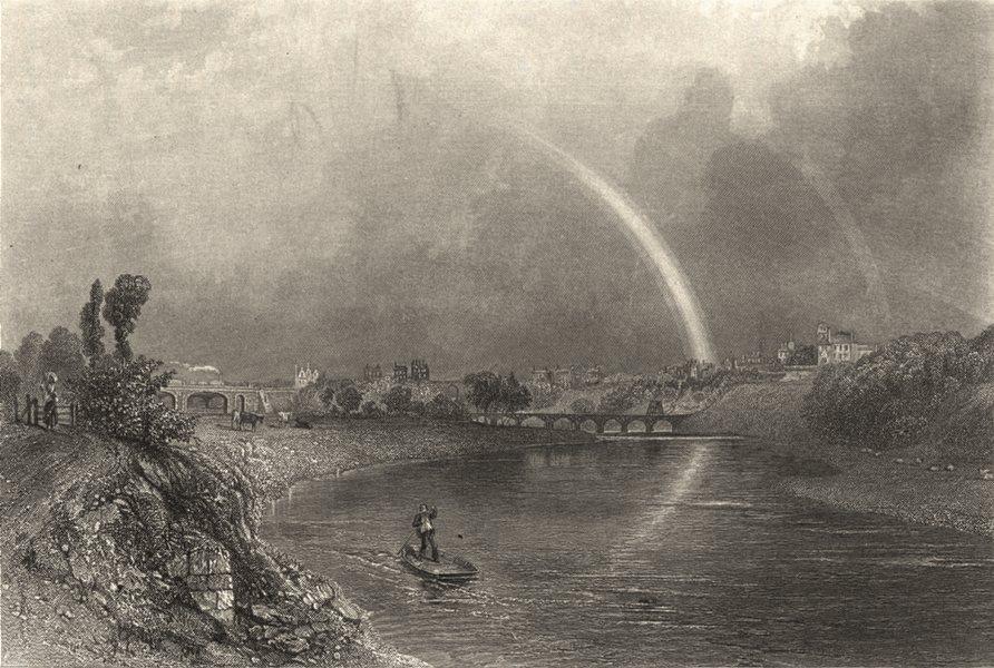 Associate Product LANCASHIRE. Preston. Warren. Steel engraving. River.  1860 old antique print