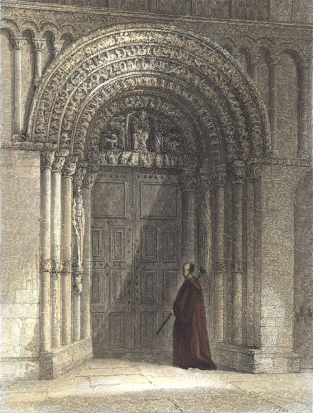 Associate Product KENT. Interior of Rochester Cathedral. West Door Way. (Winkles) 1836 old print
