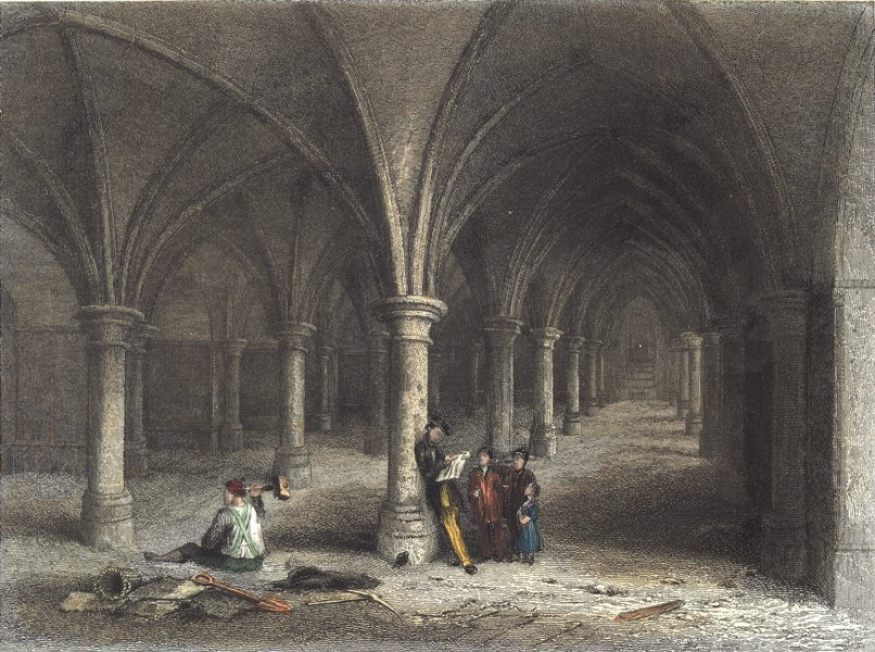 Associate Product KENT. Interior of Rochester Cathedral. View of the Crypt. (Winkles) 1836 print