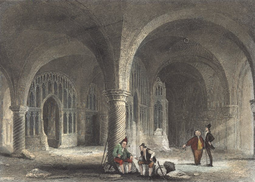 Associate Product KENT. Interior Canterbury cath. Undercroft. (Winkles) 1836 old antique print
