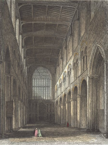 Associate Product KENT. Interior of Rochester Cathedral. View of the Nave. (Winkles) 1836 print