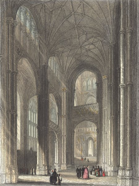Associate Product KENT. Canterbury cathedral. the Nave.  1836 old antique vintage print picture