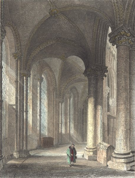 KENT. Canterbury cathedral. view from Trinity Chapel looking west.  1836 print