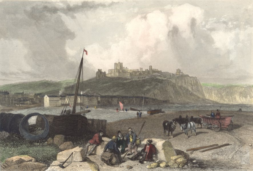Associate Product KENT. Dover. Castle. boats. Horses. (Finden) 1838 old antique print picture