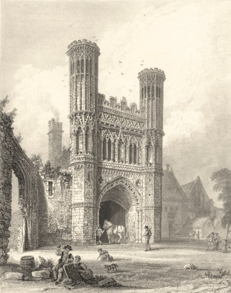 KENT. Gateway to St. Augustines Monastery, Canterbury. (Bartlett) 1836 print