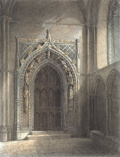 Associate Product KENT. Rochester cathedral. Door the Chapter House.  1836 old antique print