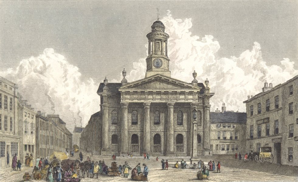 Associate Product LANCASTER. Sessions House and Market. Hand coloured (Westall) c1833 old print