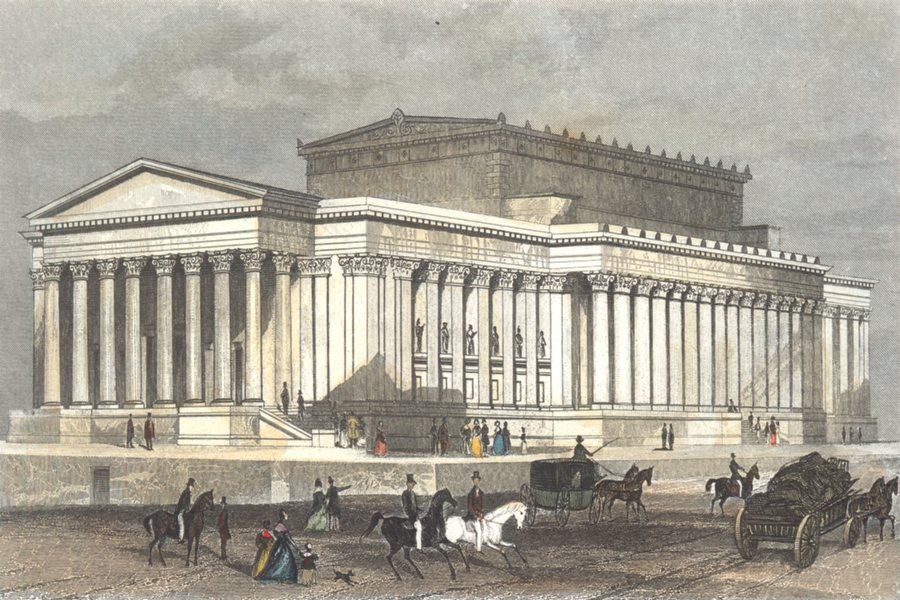 Associate Product LIVERPOOL. New Assize Courts & St Georges Hall. Hand coloured. DUGDALE 1835