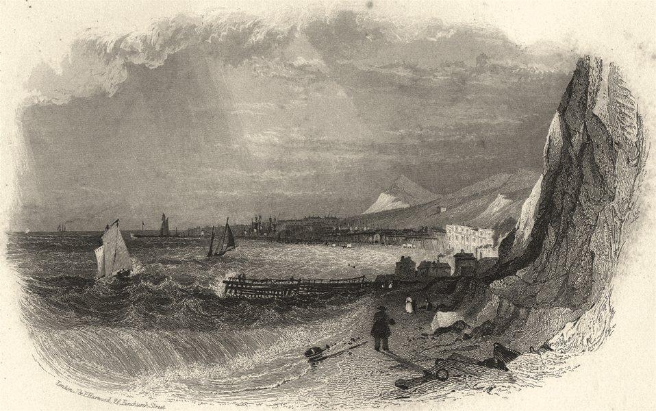 Associate Product KENT. Kent Dover form East Cliff. Harwood. Attractive Vignette view 1841 print
