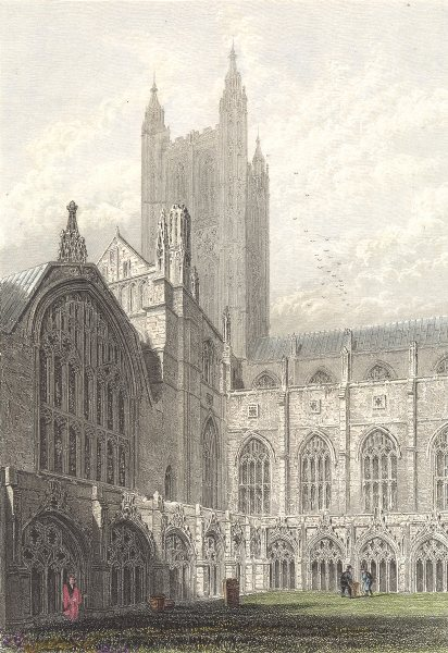 Associate Product KENT. Canterbury Cathedral. View from the Cloisters. (Winkles) 1850 old print