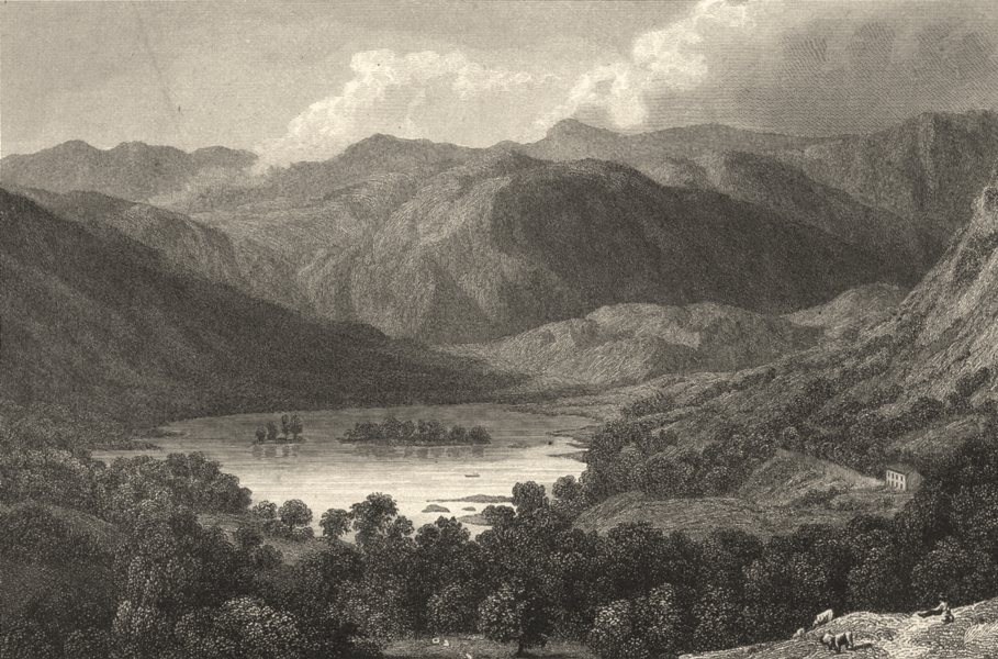 CUMBRIA. Great. Rydal Lake. (Finden/Westall) 1830 old antique print picture