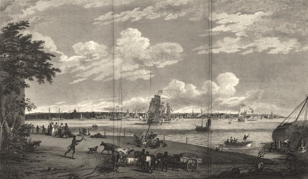 LIVERPOOL. Town and Harbour, from Seacombe. Dixon. Copperplate 1825 old print