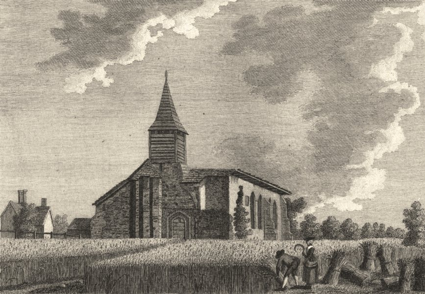 Associate Product ESSEX. S. W. View of Little Dunmow priory church . Copperplate (Grose) 1787