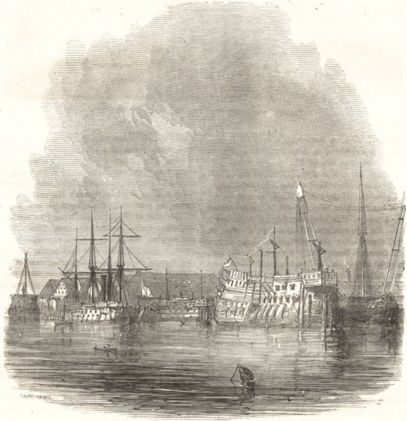 Associate Product SHIPS. Receiving Hulks, Etc 1850 old antique vintage print picture