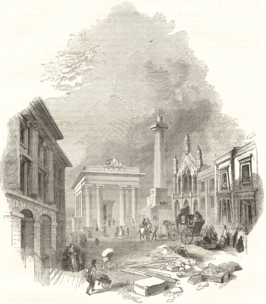 Associate Product DEVON. Town- Hall and Library, Devonport 1850 old antique print picture
