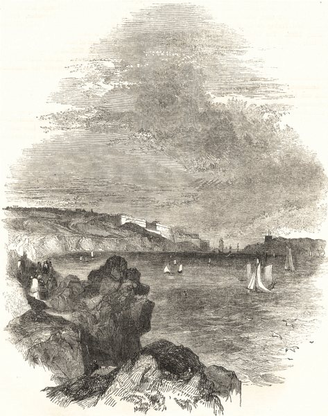 Associate Product DEVON. The Sound, The Hoe, The Citadel, and the Cattewater 1850 old print