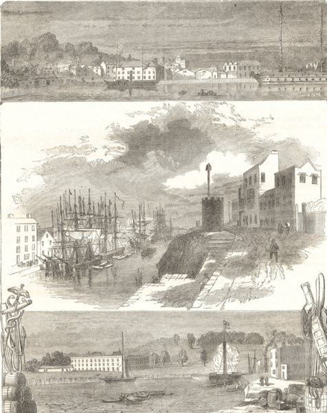 Associate Product SOMERSET. Floating Dock; The Quay; Cumberland Basin 1850 old antique print