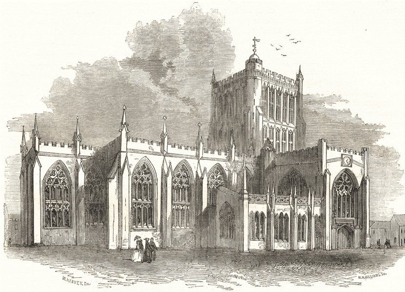 Associate Product BRISTOL. The Cathedral 1850 old antique vintage print picture