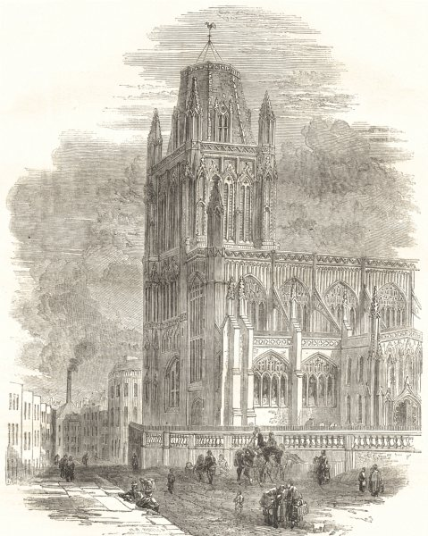 Associate Product BRISTOL. St. Mary Redcliffe Church 1850 old antique vintage print picture
