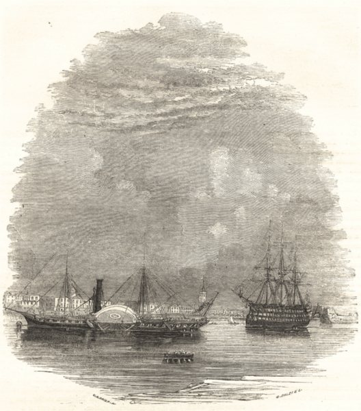 Associate Product SHIPS. Victoria and Albert Steamer in front of Dockyard 1850 old antique print