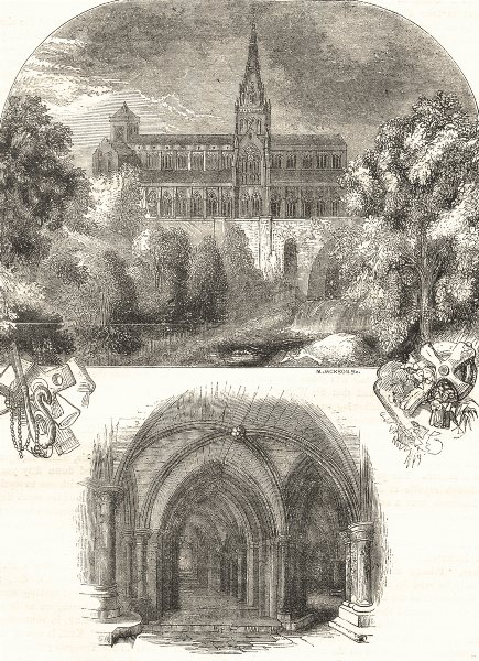 Associate Product GLASGOW. The Cathedral; The Crypt 1850 old antique vintage print picture