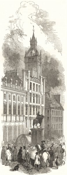 GLASGOW. The Cross 1850 old antique vintage print picture