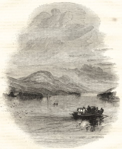 Associate Product CUMBRIA. Windermere, from the Bowness Ferry 1850 old antique print picture