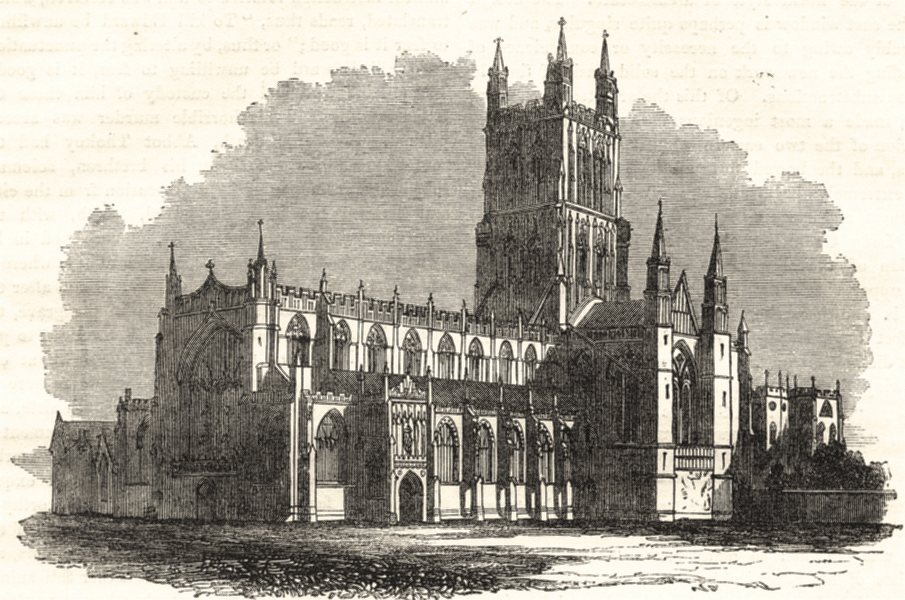 Associate Product GLOUCESTERSHIRE. Gloucester Cathedral, from the South- West 1850 old print