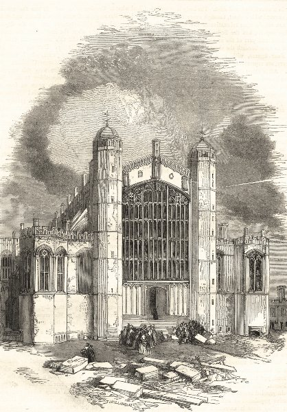 Associate Product WINDSOR. West End of St. George's Chapel 1850 old antique print picture
