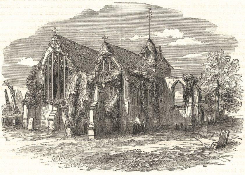 Associate Product SUSSEX. Winchelsea Church 1850 old antique vintage print picture