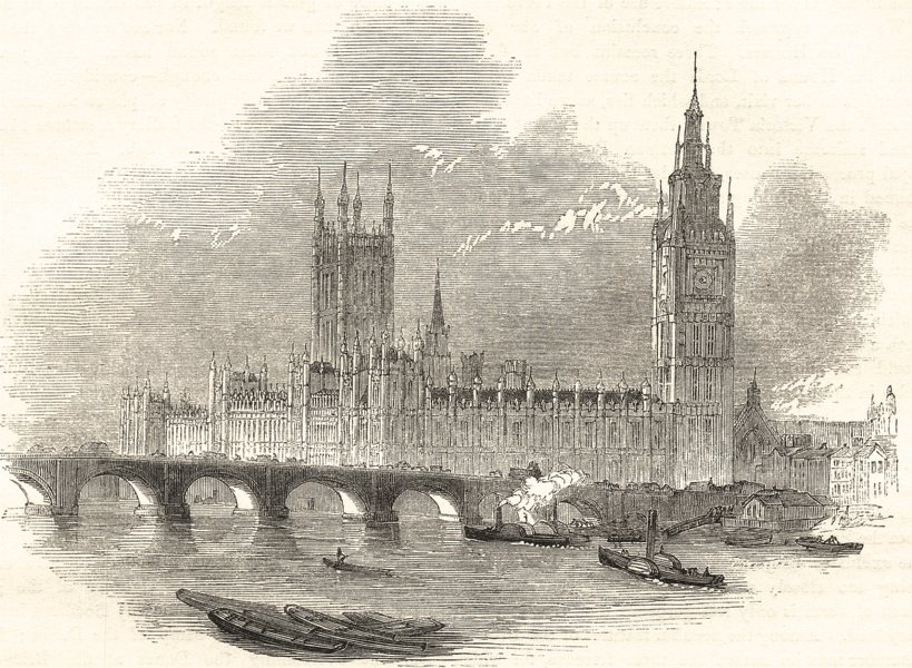 Associate Product HOUSES OF PARLIAMENT. The new Palace of Westminster from Hungerford Bridge 1850