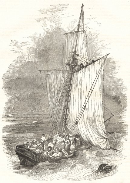 Associate Product SHIPS. The Hoy Becalmed 1850 old antique vintage print picture