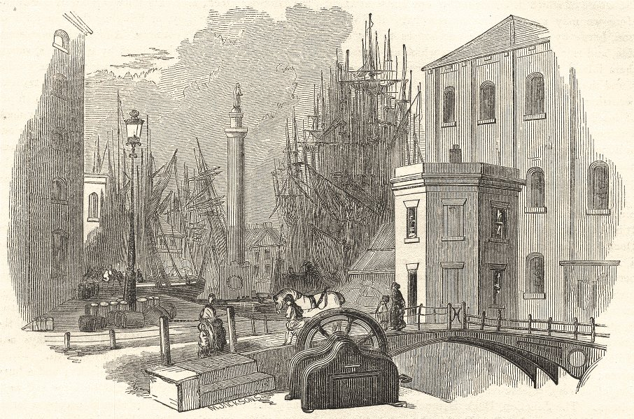 Associate Product YORKSHIRE. Docks, and the Wilberforce Column 1850 old antique print picture