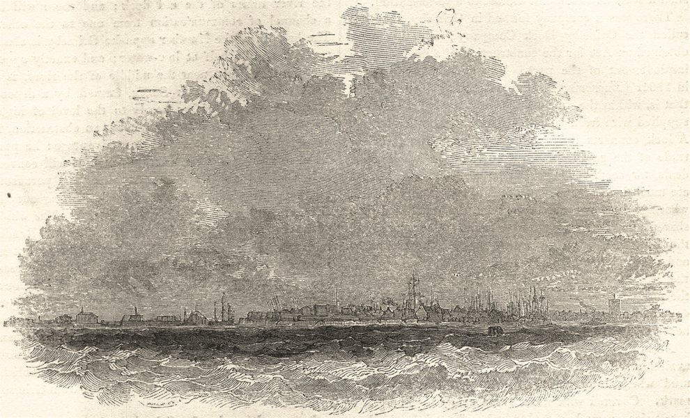 Associate Product LINCOLNSHIRE. Great Grimsby, from the Humber 1850 old antique print picture