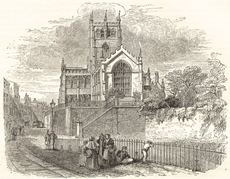 Associate Product NOTTINGHAMSHIRE. St. Mary's Church, Nottingham 1850 old antique print picture