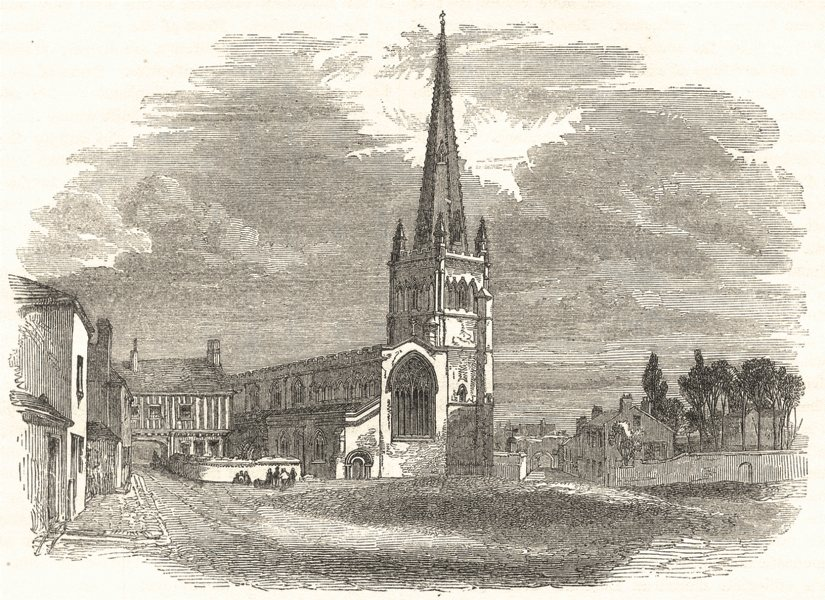 Associate Product LEICESTERSHIRE. St. Mary's Church, Leicester 1850 old antique print picture