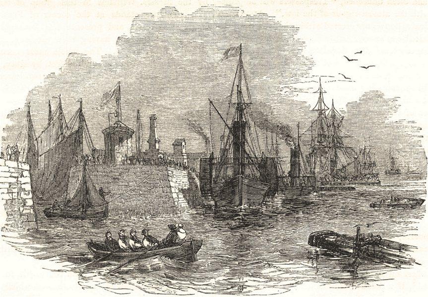 LIVERPOOL. St. George's Pier- Head 1850 old antique vintage print picture