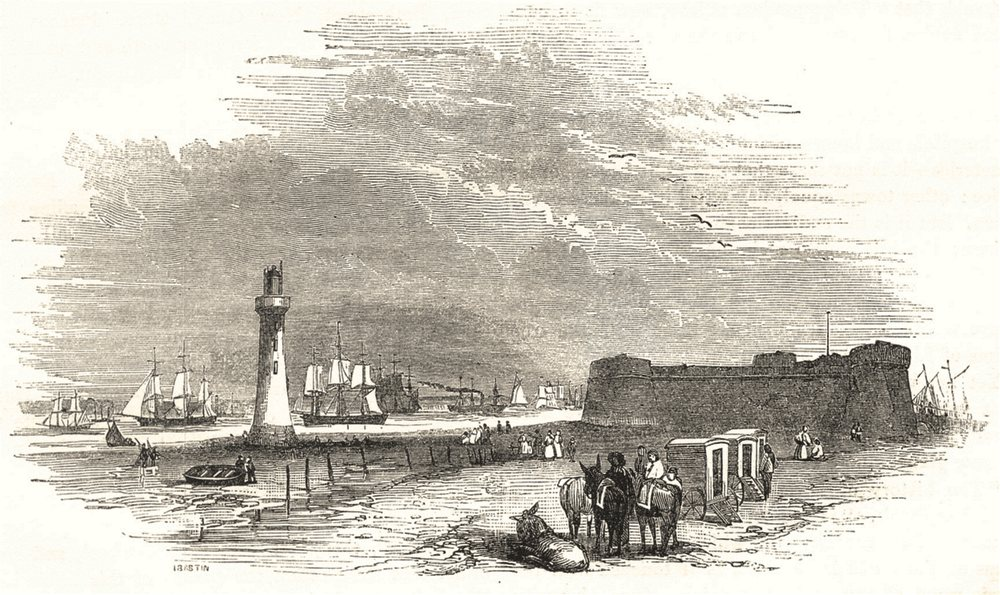 Associate Product LIVERPOOL. Fort and Lighthouse 1850 old antique vintage print picture