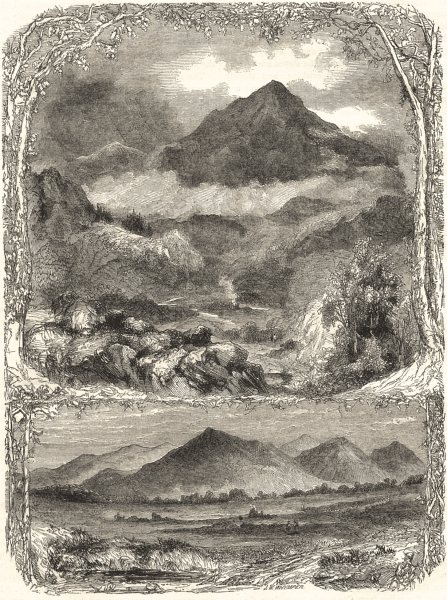 Associate Product WALES. The Snowdon Range, from Cernioge 1850 old antique vintage print picture