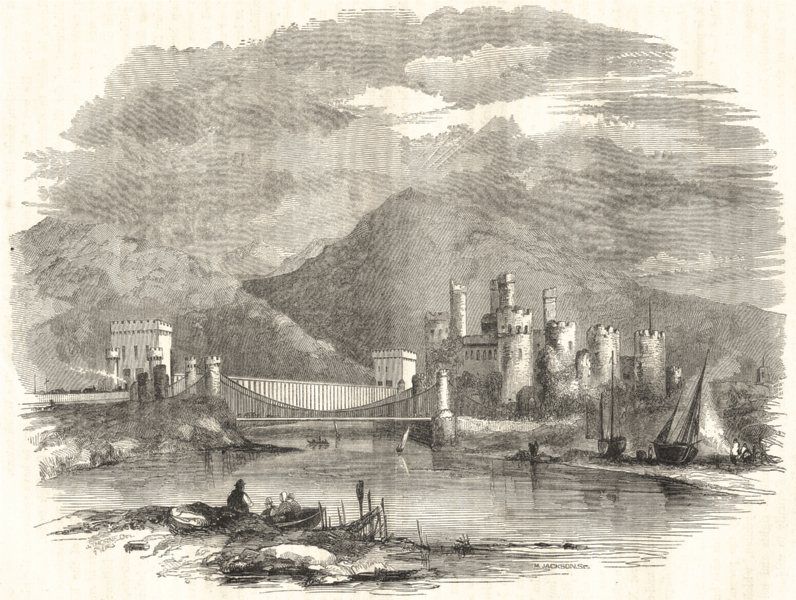 Associate Product WALES. Conwy Castle 1850 old antique vintage print picture