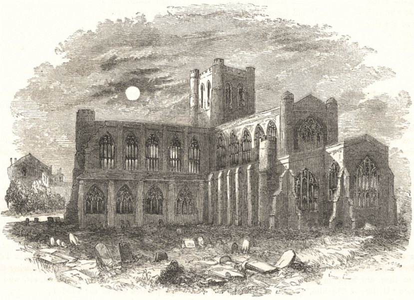 Associate Product CHESHIRE. Chester Cathedral 1850 old antique vintage print picture
