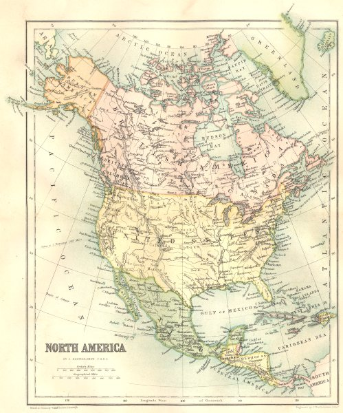 Associate Product NORTH AMERICA. North America 1864 old antique vintage map plan chart