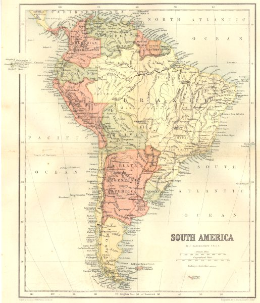Associate Product SOUTH AMERICA. South America 1864 old antique vintage map plan chart