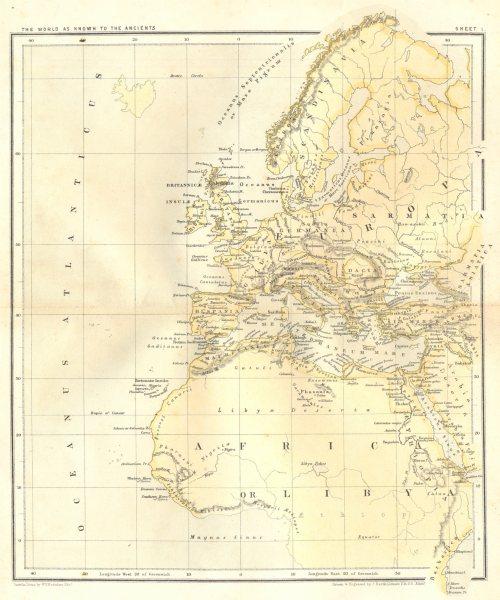 Associate Product EUROPA. Ancient World sheet 1.Sarmatia Africa Gallia Hispania Germania 1864 map