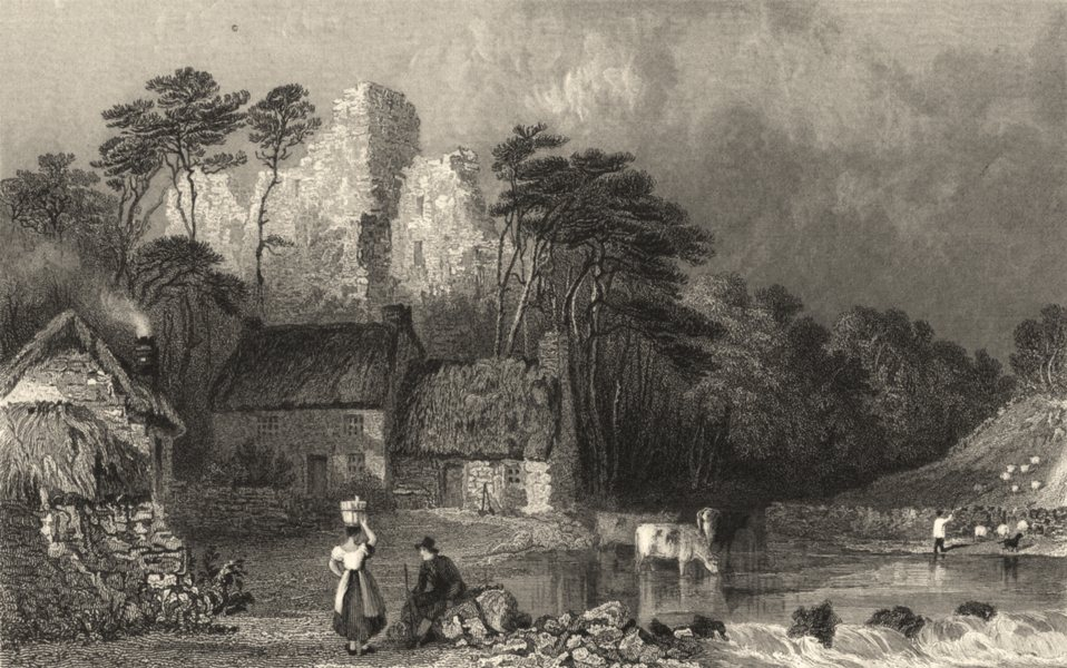 Associate Product NORTHUMBS. Thirlwall Castle. ruins. Cottages. Figures. Cumbs.  1832 old print